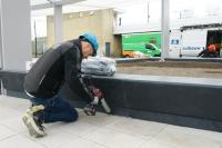 Kitter aan het werk op busstation Tilburg